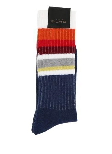 Alto Socks Alto Socks  Şeritli Çizgi Dokulu Erkek Yün Çorap 101560328 Lacivert